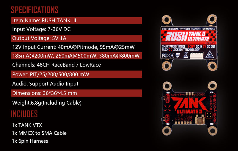 RUSH TANK II ULTIMATE VTX 5.8G PIT-25-200-500-800mW 30X30 STACKABLE