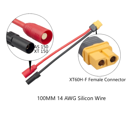 AS150-XT150 MALE TO XT60 FEMALE 14AWG 100MM CABLE