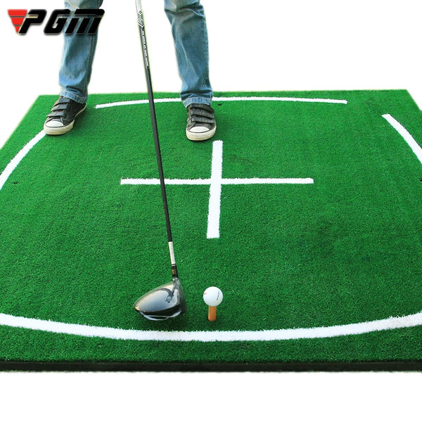 Pgm Large Luxury Golf Club Swing Training Mat | Grass Green with Positioning Reference Line Wear-Resistant