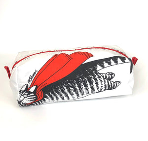 Cosmetic Bag: Kilban Cat - Flying Caped Cat- Original Vintage 1980 fabric!