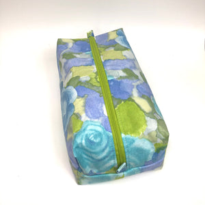 Cosmetic Bag: 1970s Blue Water-color Roses