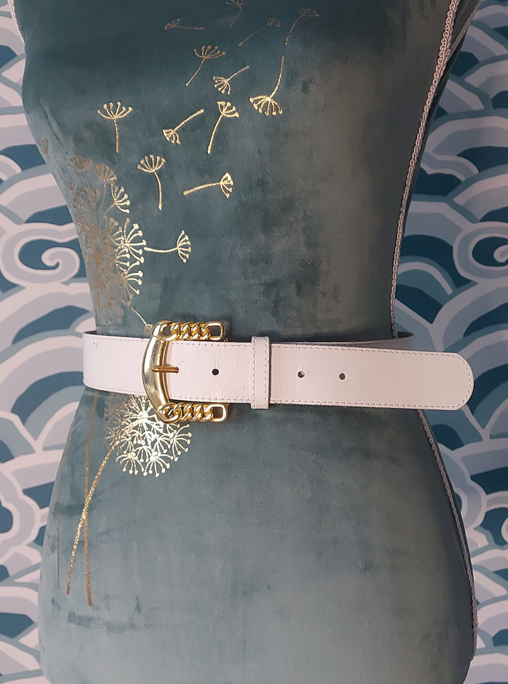Front of White Belt with gold buckle