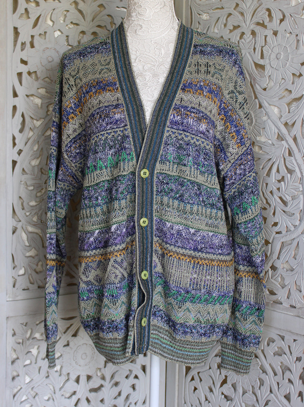 Grey Over-sized Patterned Cardigan Madgra Vintage