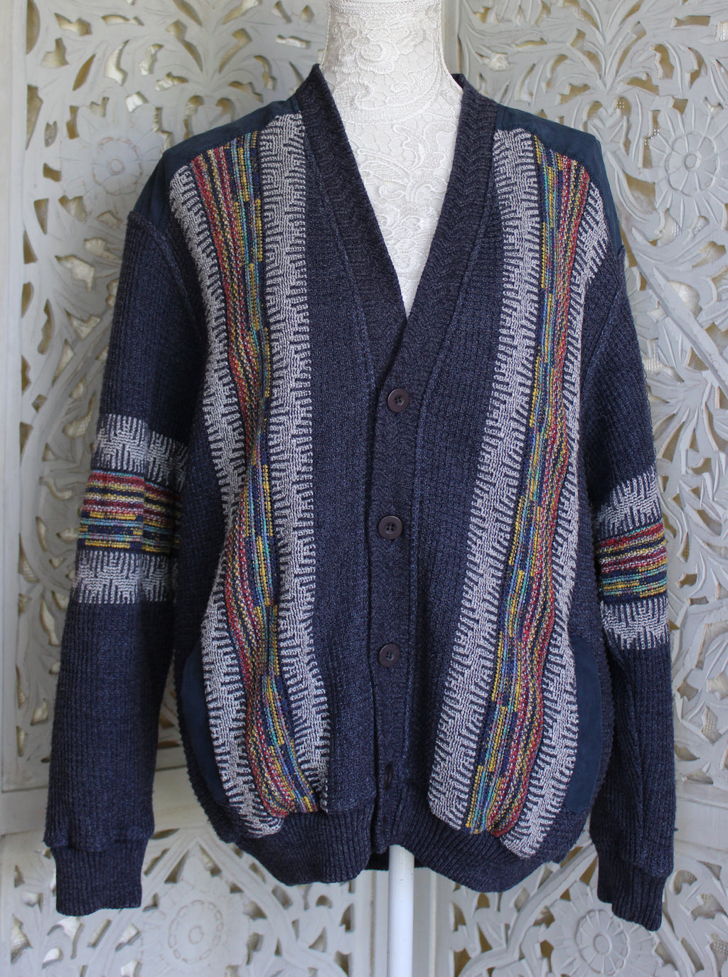 Grey Over-sized Cardigan with Panel Pattern Madgra Vintage