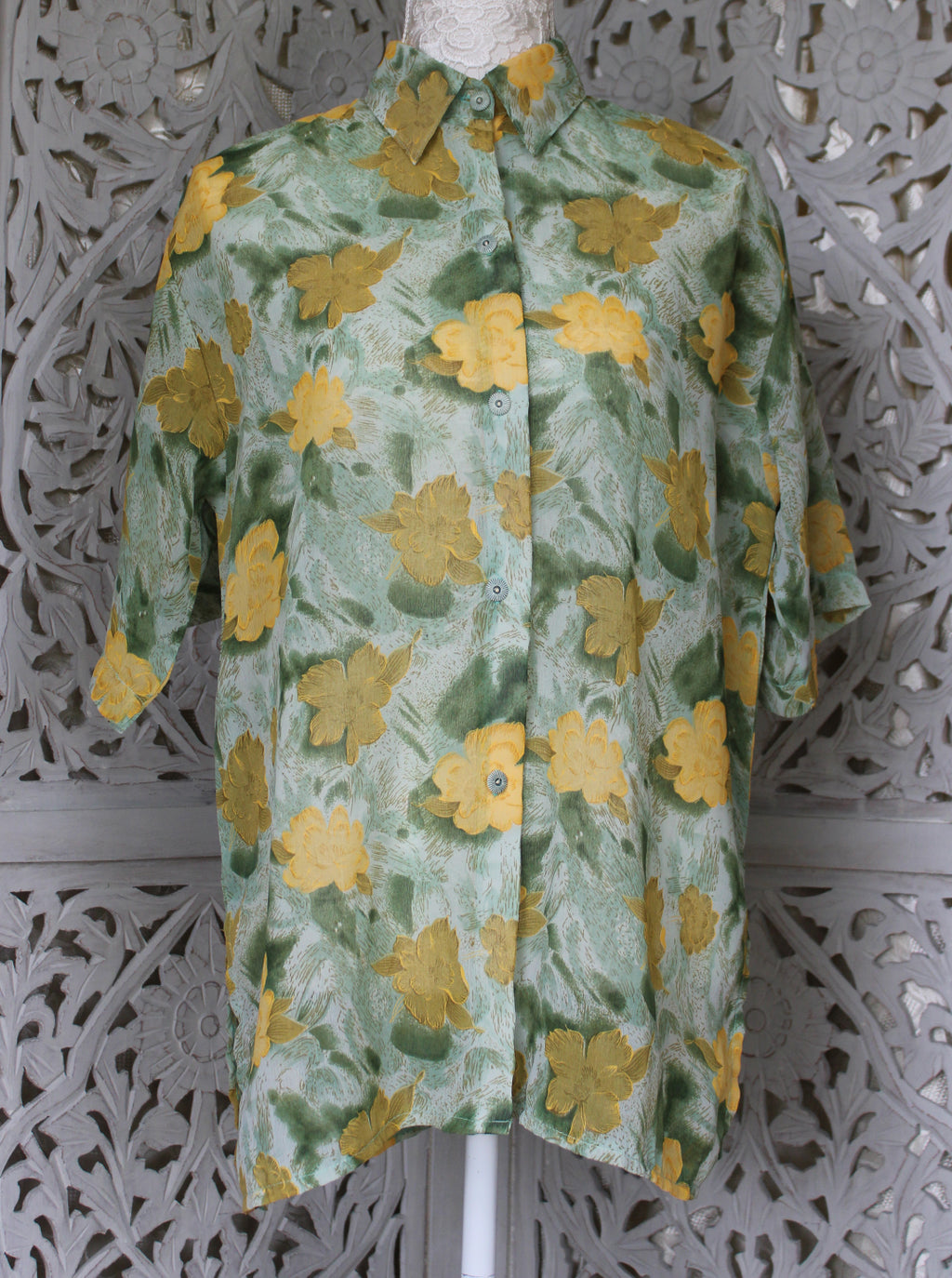 Green & Yellow Floral Pattern Blouse Madgra Vintage