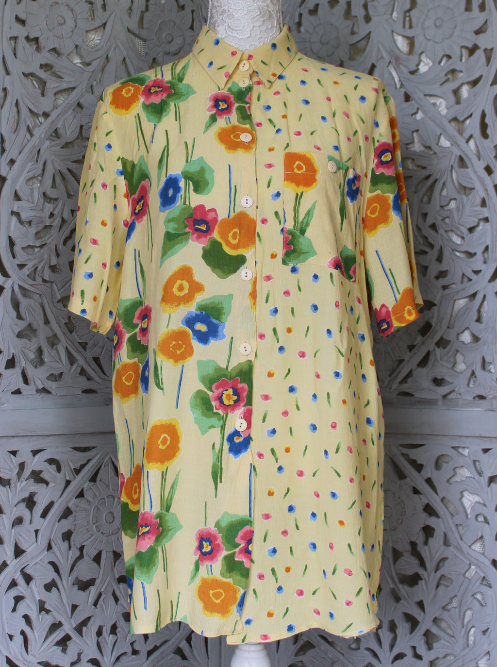 Yellow Blouse with Double Floral Pattern Madgra Vintage