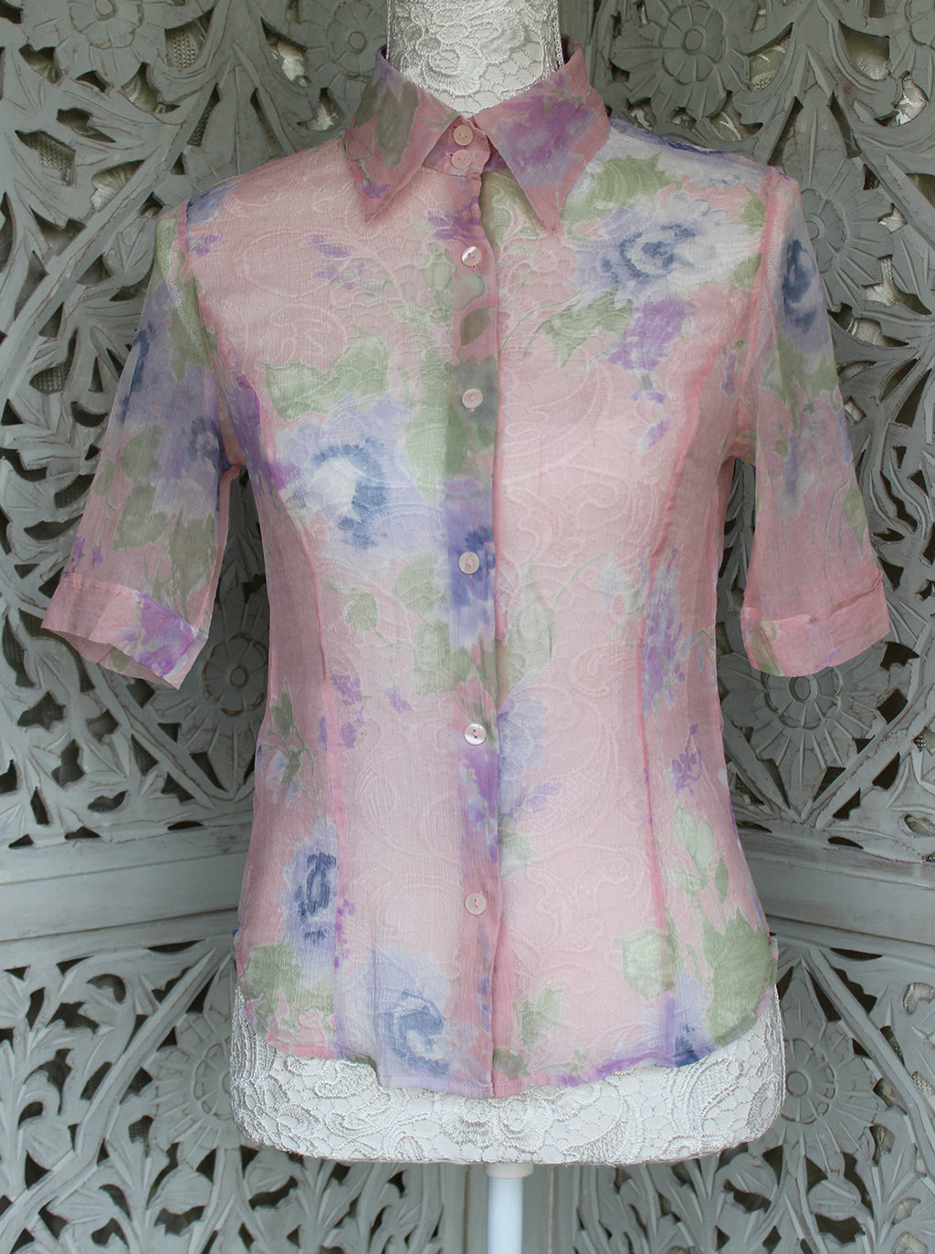 Madgra Vintage Silk See-through Pink Blouse