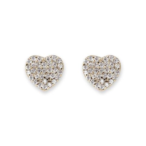 Bianc Jewellery | Earrings | Gold pave set cz heart studs