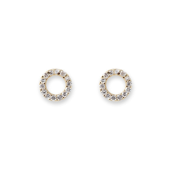 Bianc Jewellery | Earrings | Gold pave set cz open circle studs
