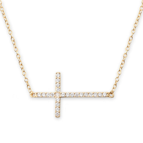Bianc Jewellery | Necklaces | Horizontal cross with pave set cz