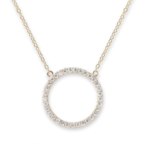 Bianc Jewellery | Necklaces | Open circle pendant with pave set cz