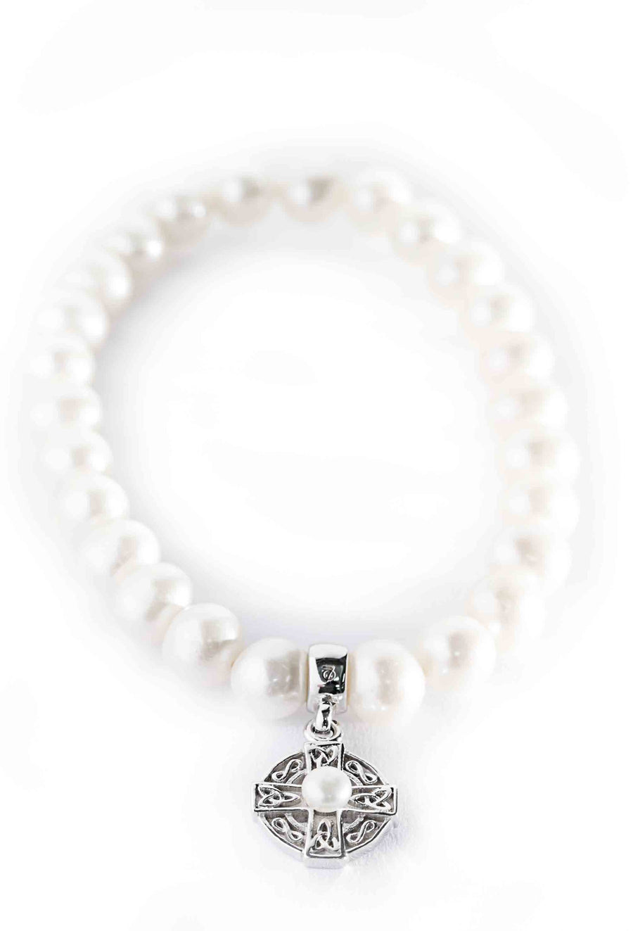 Celtic Jewellery | pearl bracelet with drop celtic harmony cross set with a beautiful pearl
