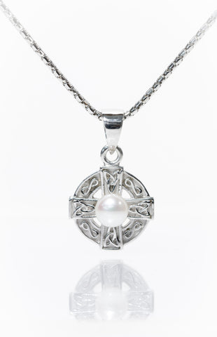 Celtic Jewellery | Pearl Cross with Circle of Life
