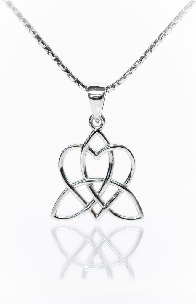 Celtic Heart Pendant Entwinned with Triskelion