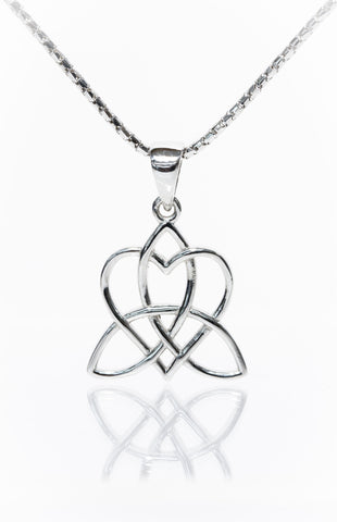 Celtic Jewellery | Heart Pendant Entwined with a Triskelion
