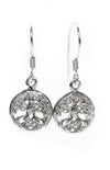 Tree of Life Drop Silver Earrings