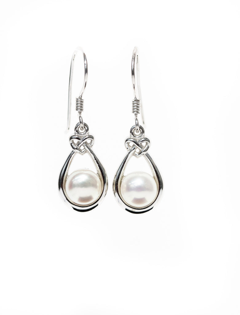 Celtic Pearl Drop Earrings with Celtic Knots