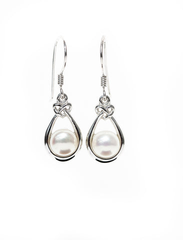Celtic Jewellery | Pearl Drop Earrings with Knot and Beautiful White Pearl