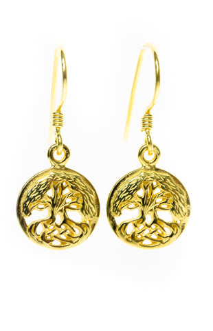 Tree of life Jewellery | Gold Plated Celtic Tree Earrings