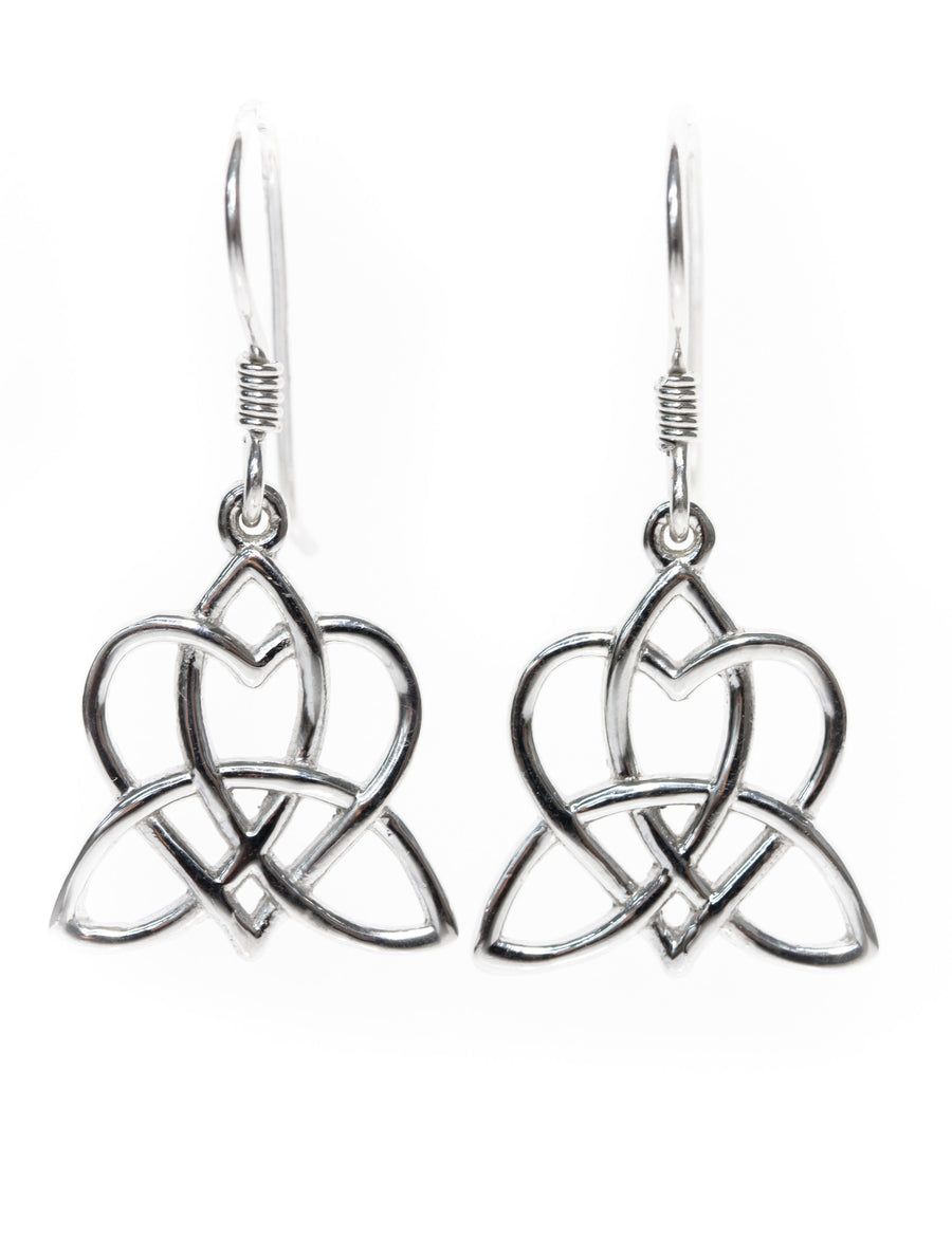 Celtic Heart Earrings Entwinned with Triskelion