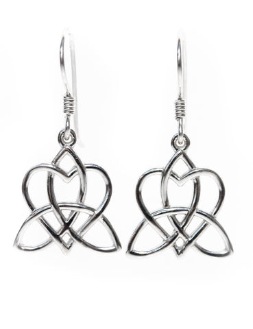 Celtic Knot Jewellery | Heart Earrings Entwined with a Triskelion