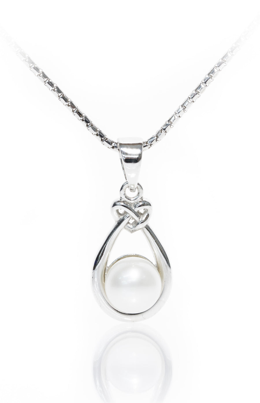 Celtic Pearl Pendant on SIlver Necklace