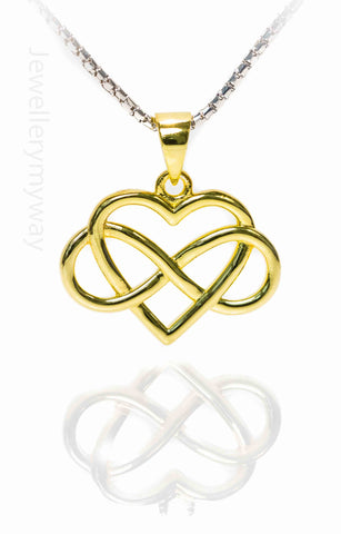 Infinity Jewellery | Gold Plated Heart Pendant Entwined with Infinity