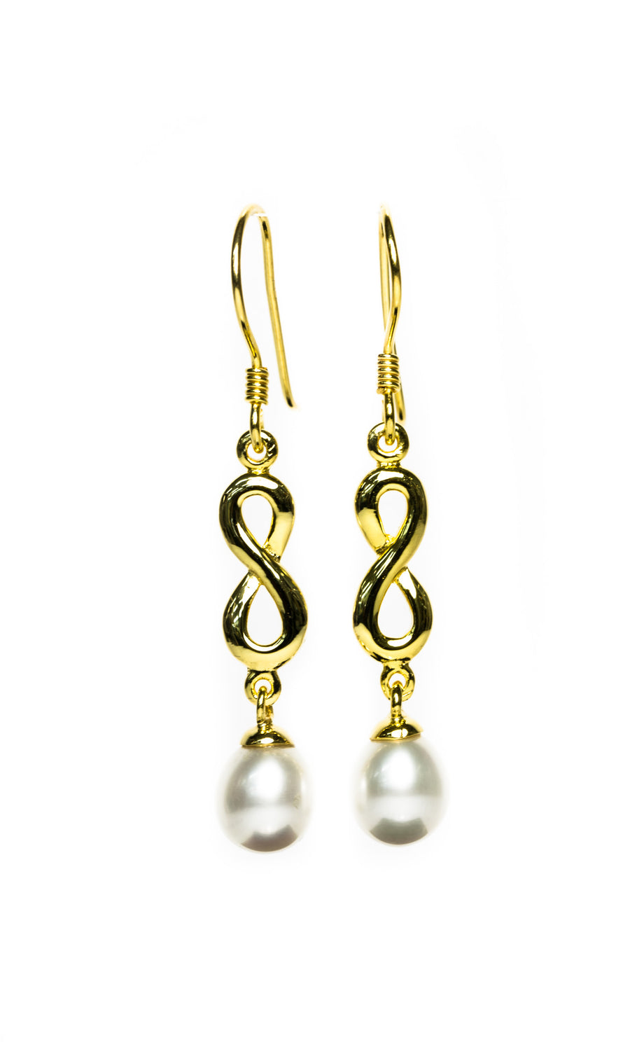 Infinity Jewellery | Gold Plated Classic Infinity Pearl Drop Earrings