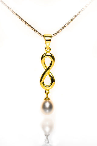 Pendants jewellery with beauty and meaning melville jewellers infinity jewellery gold plated classic infinity pearl drop pendant mozeypictures Image collections