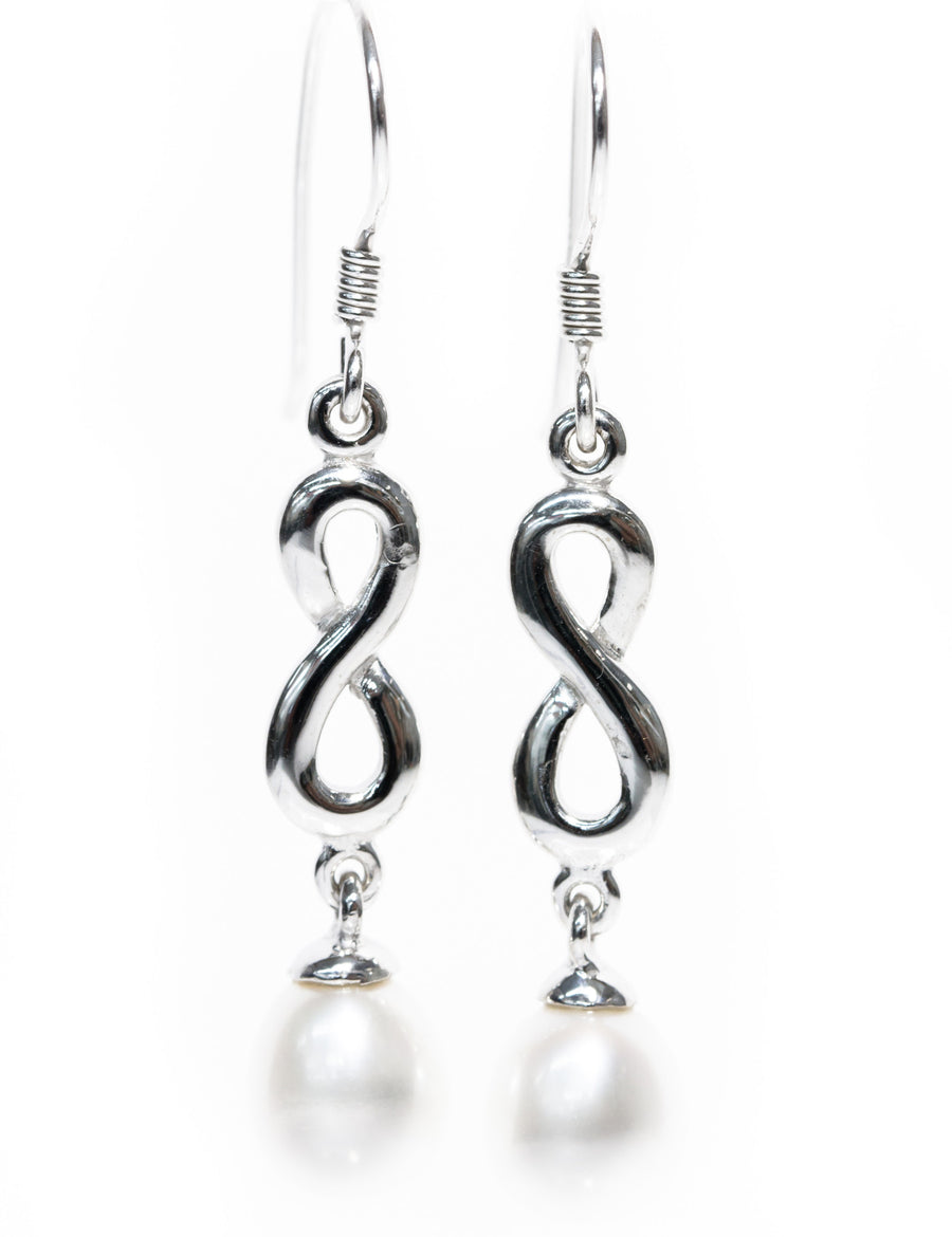 Silver Pearl Drop Earrings from the Infinity Range
