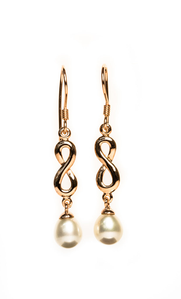 Celtic Pearl Drop Earrings - Rose Gold Plated