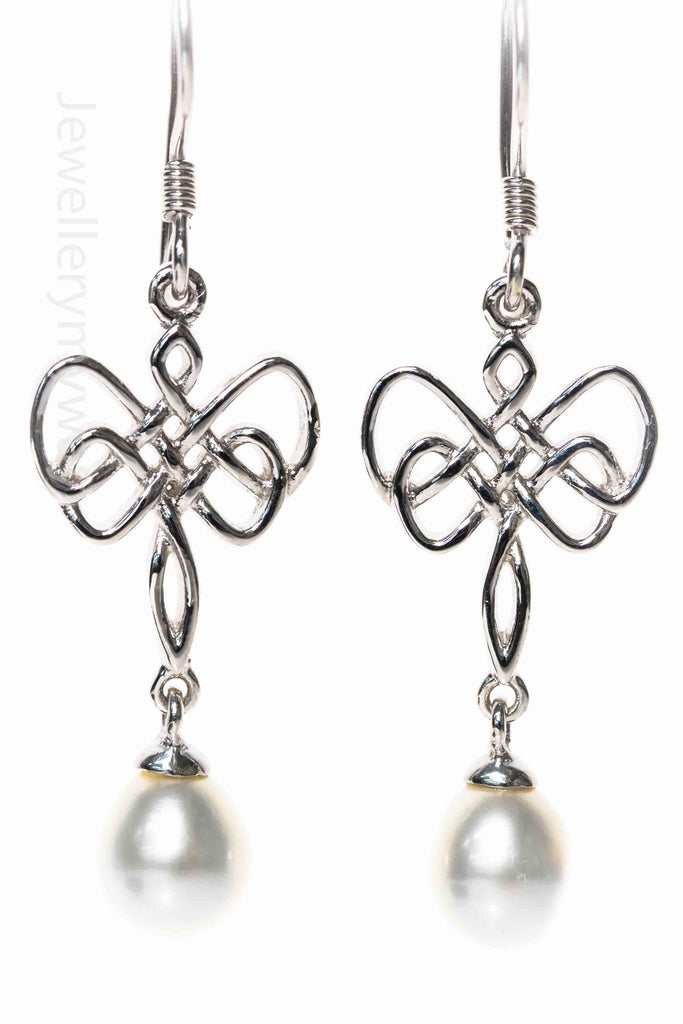 Entwined Drop Pearl Earrings from Infinity Range