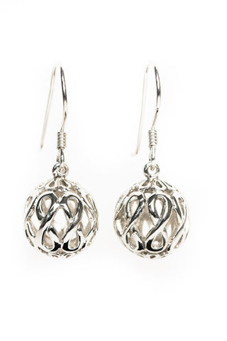 Infinity Jewellery | White Gold Plated Infinity Orb Earrings