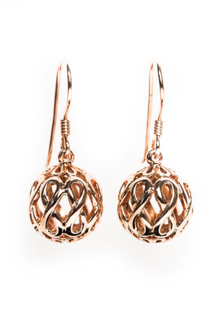 Infinity Jewellery | Rose Gold Plated Infinity Orb Earrings