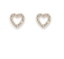 Bianc Jewellery | Earrings | Open heart cz studs