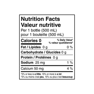 Nestle Pure Life natural spring water nutrition label