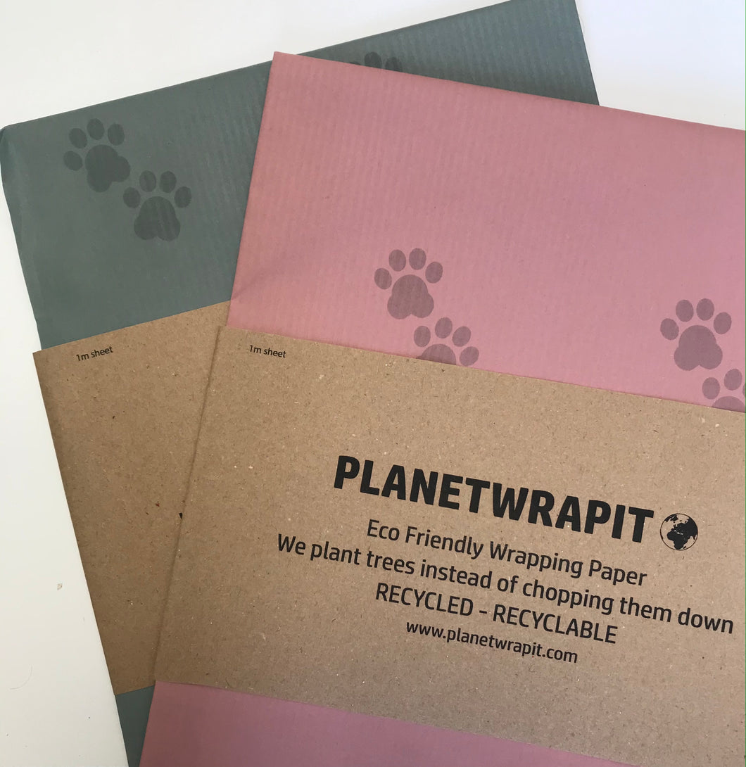 Eco Friendly Wrapping Paper in dusky pink and dusky blue with paw prints pattern