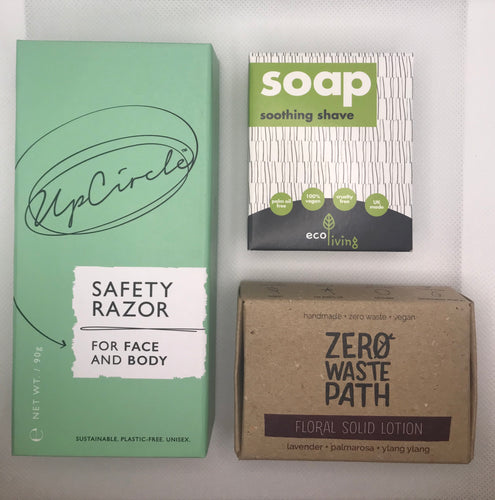 Shaving starter kit, Safety Razor, Shave Soap, Solid Lotion Bar