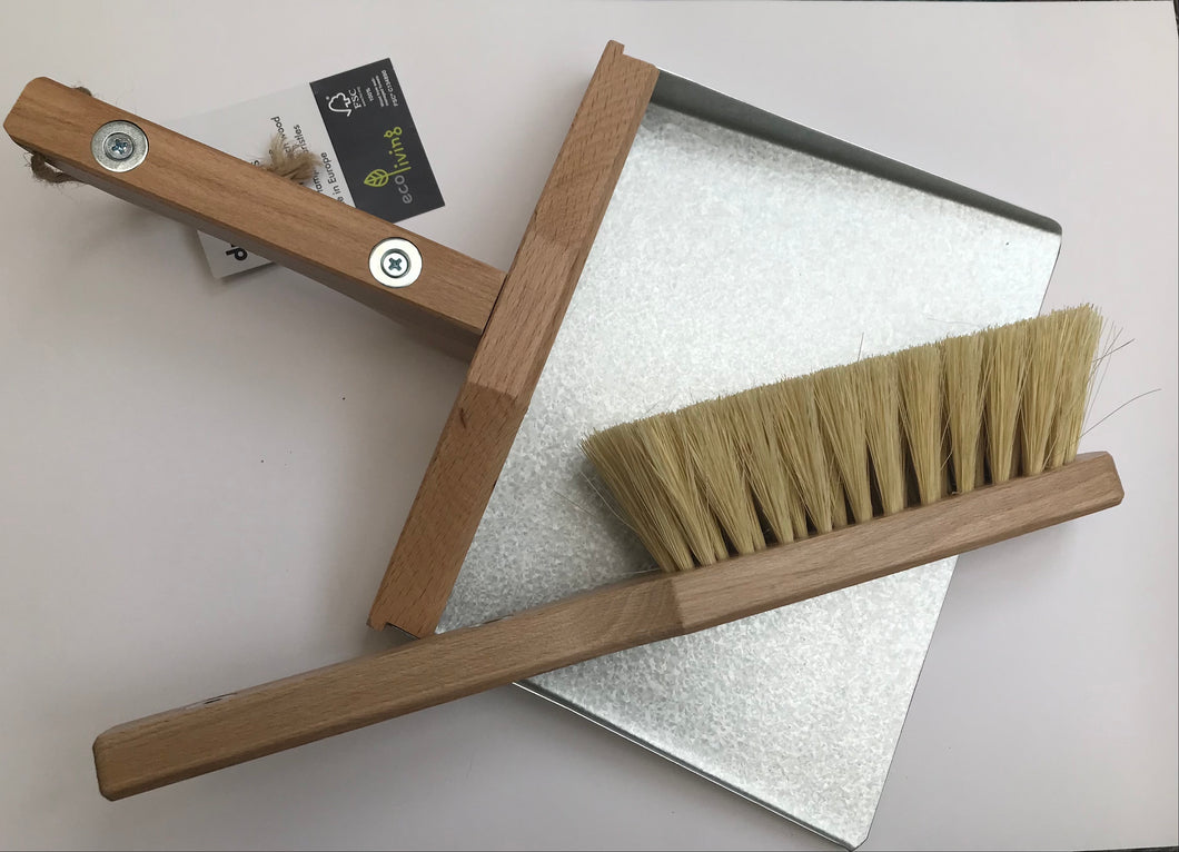 Magnetic Wooden and Metal Dustpan and Brush