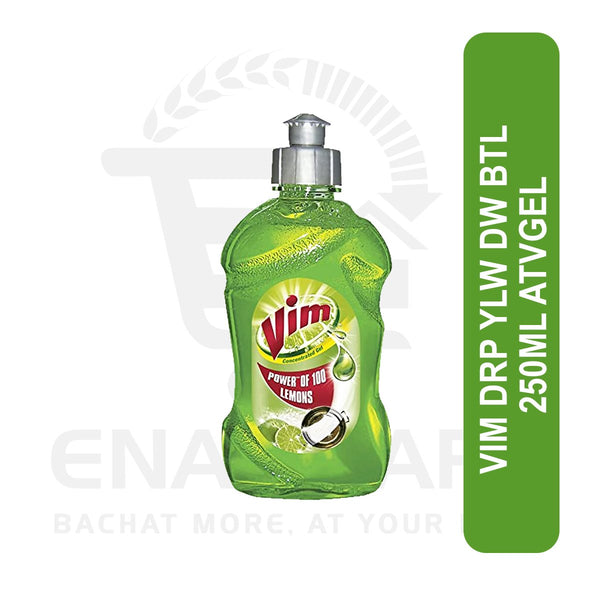 Vim Drop Yellow Dishwash Bottle 250ml gel