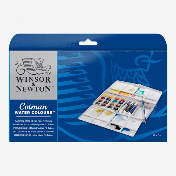 Cotman Painting Plus 16 Half Pan 3 Tube Set