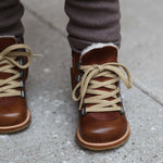 Load image into Gallery viewer, Angulus Wool Lined Waterproof Lace-Up Zip Boots in Cognac