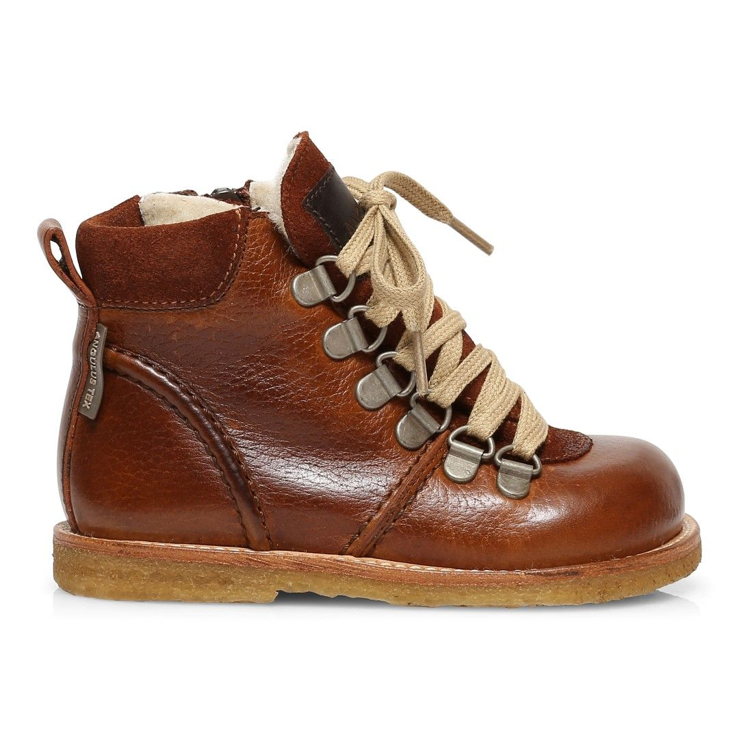 Angulus Wool Lined Waterproof Lace-Up Zip Boots in Cognac