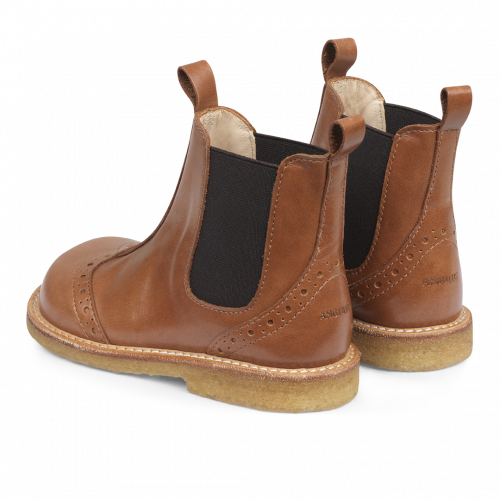 Angulus Leather Chelsea Boot w/ Brogue Detail in Cognac Brown