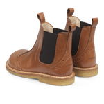 Load image into Gallery viewer, Angulus Leather Chelsea Boot w/ Brogue Detail in Cognac Brown