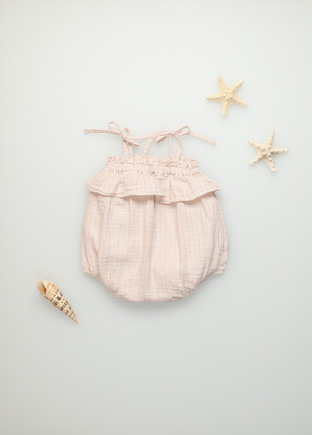 The New Society Claire Organic Cotton Muslin Romper Blush