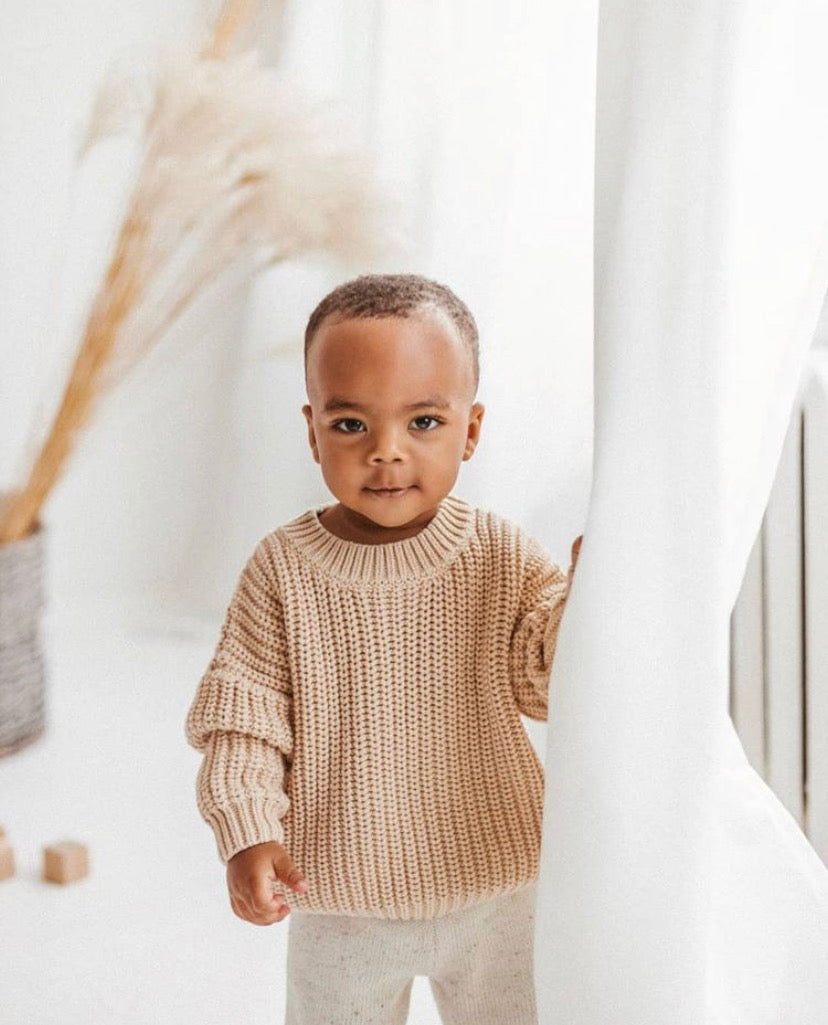 Kids of April Chunky Jumper in Almond