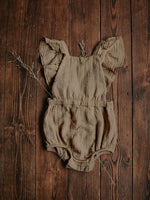 Load image into Gallery viewer, The Simple Folk Ruffle Romper in Sand