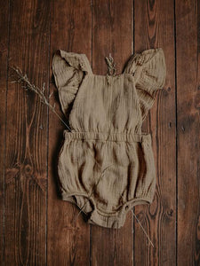 The Simple Folk Ruffle Romper in Sand