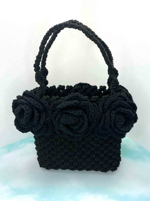 Handmade hand crafted black macrame tote bag box boxy handbag purse with black crochet roses around top with handles